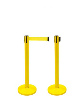 Poste Separador com Fita Extensível Amarelo